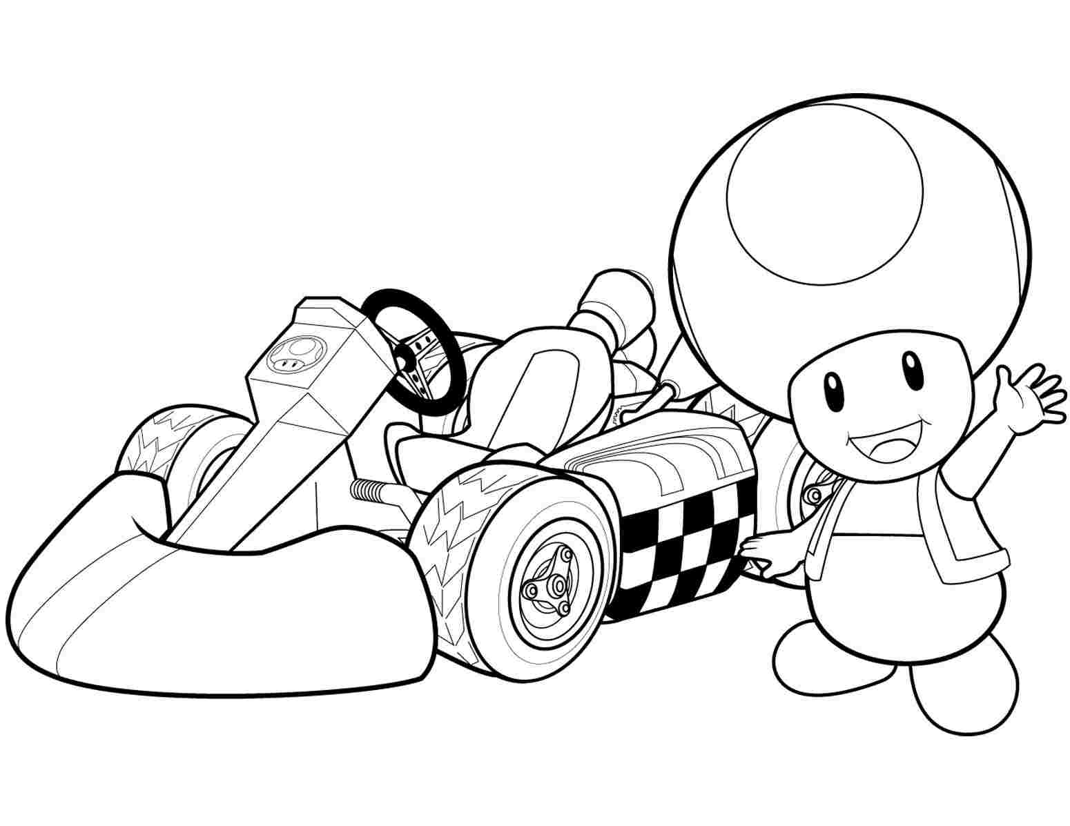 Toad and his racing car in Mario Kart Wii Coloring Page