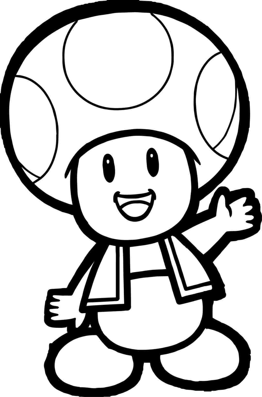 Toad from Super Mario Bros say hi Coloring Page