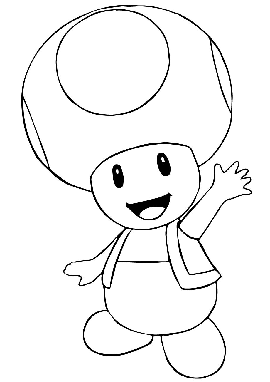 Toad shakes his hand and says goodbye Coloring Pages