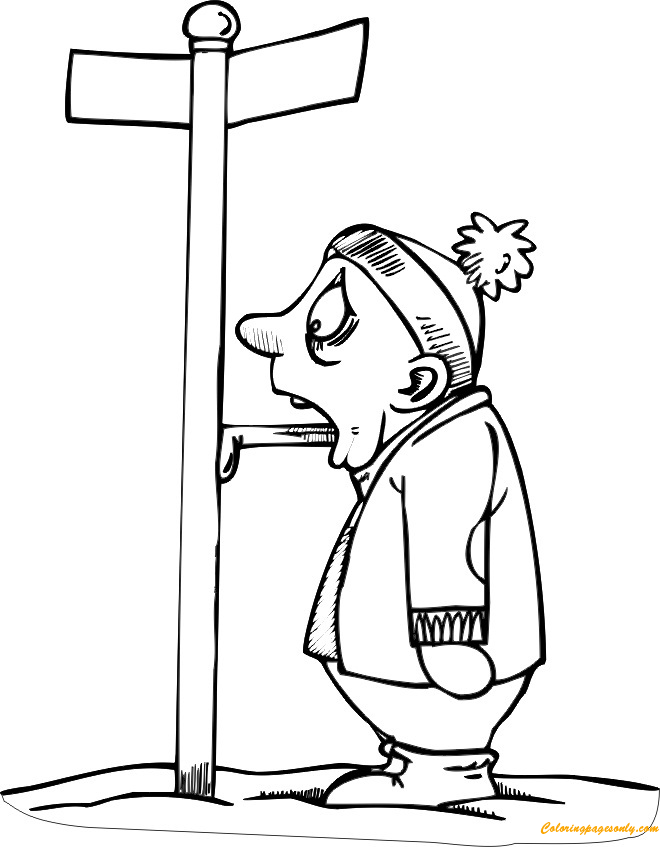 Tongue Stuck To Frozen Pole Coloring Page