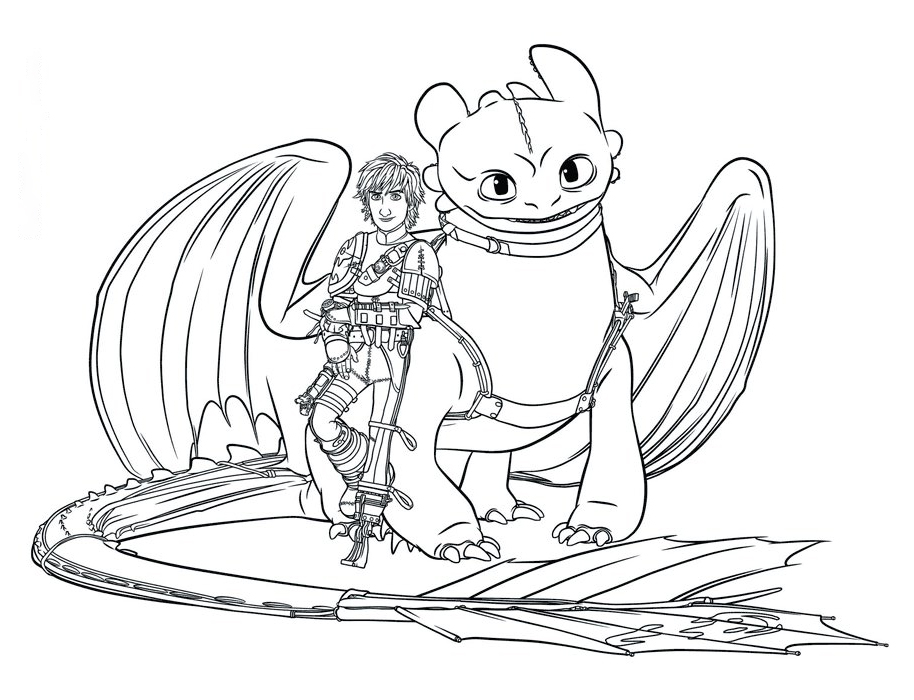 Toothless and Hiccup Coloring Page