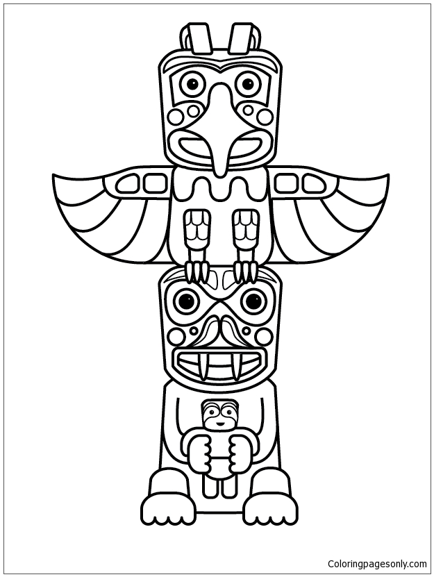 totem pole animal coloring pages - totem pole animals coloring page free coloring pages online