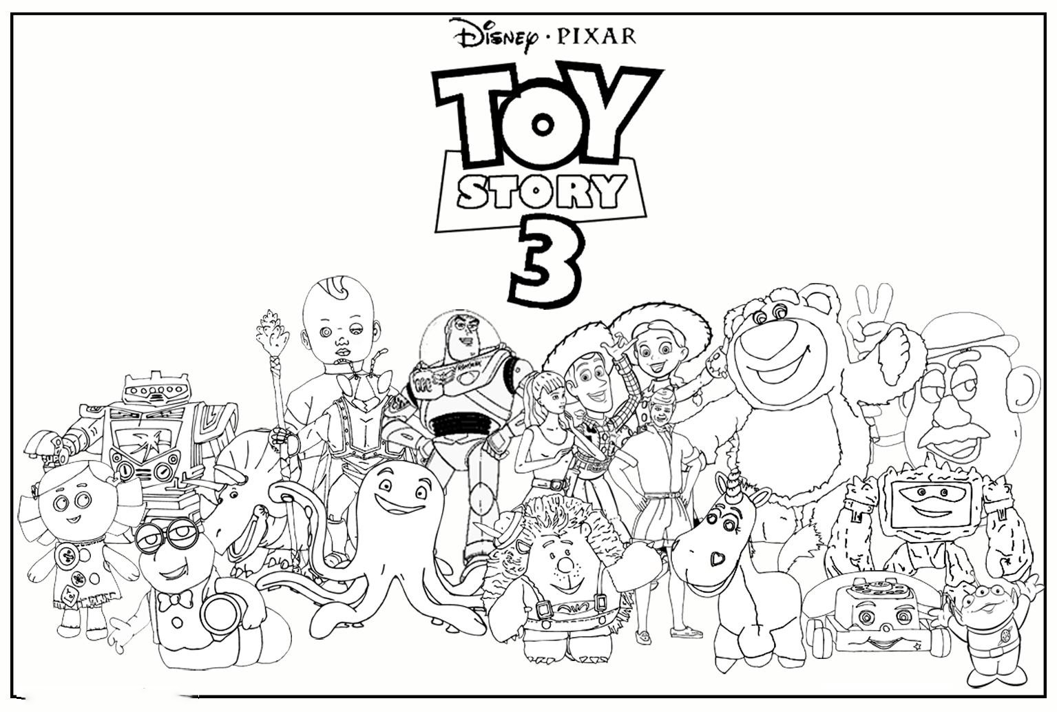 Toy Story 3 Characters Coloring Page