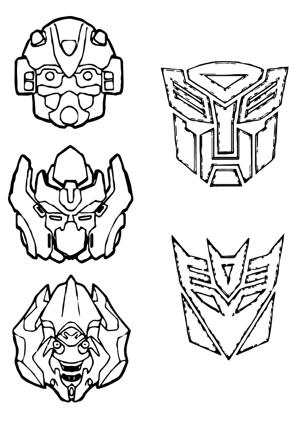 Transformer Masks Coloring Page
