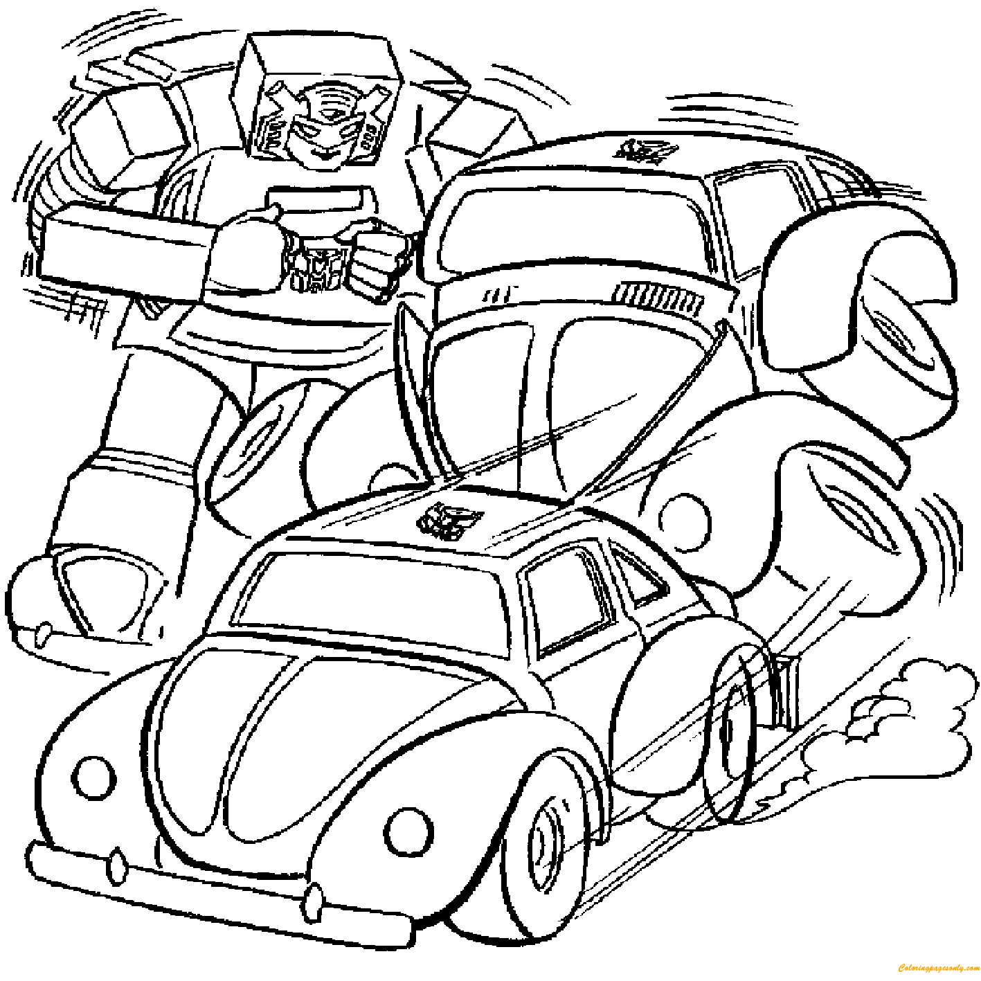 Transformers Breaking Cars Coloring Page