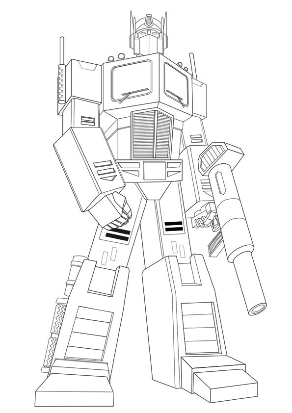 Transformers Ironhide Hold Gun Coloring Page