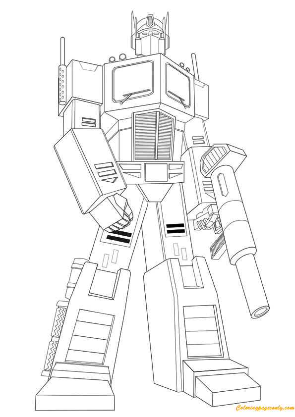 Transformers Ironhide Hold Gun Coloring Page Free