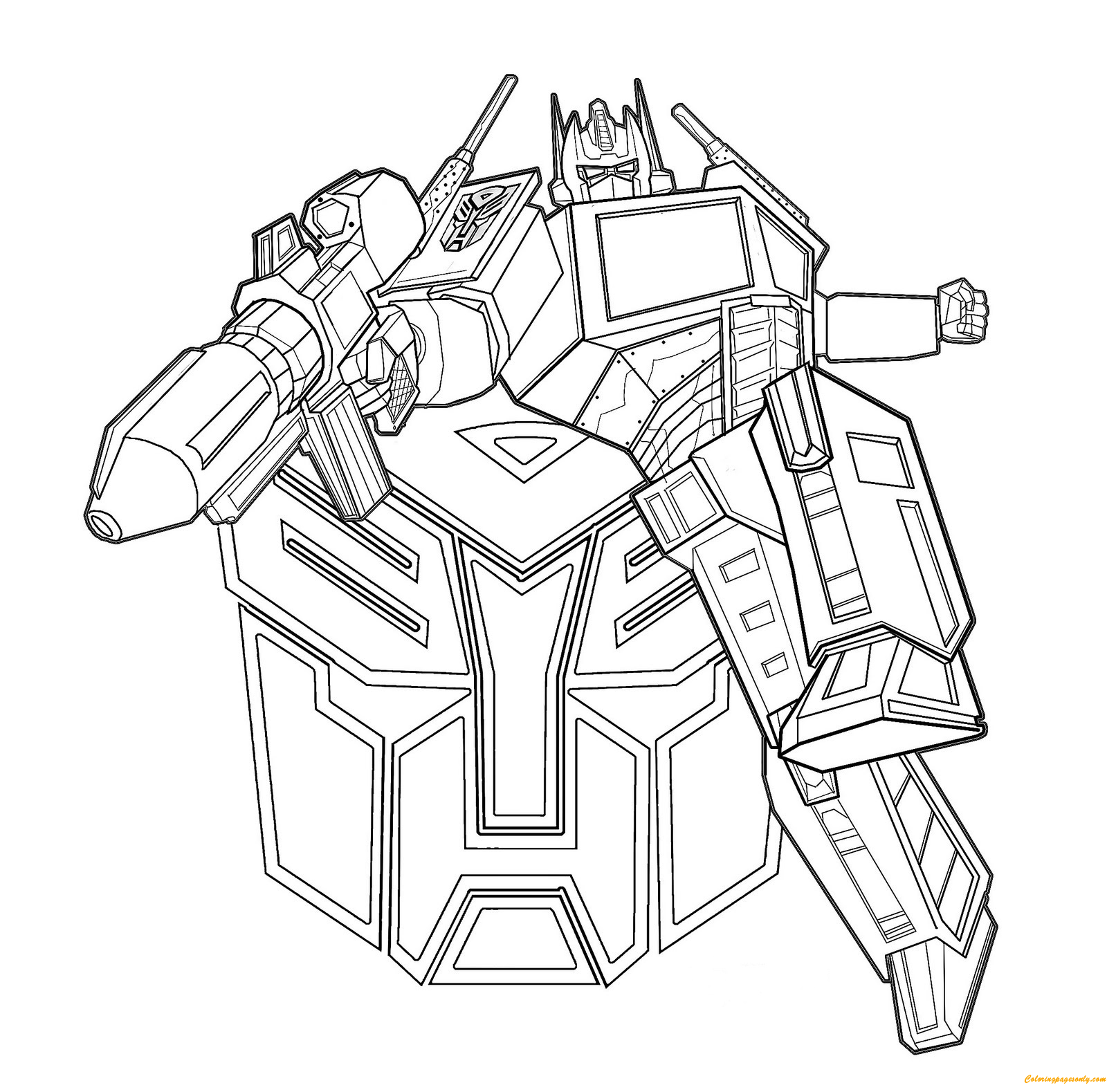 transformers optimus prime coloring page - Optimus Prime Face Coloring Pages