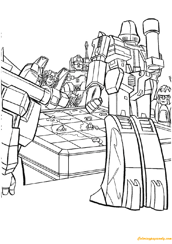 Transformers planning a war coloring page free coloring for Ironhide coloring pages