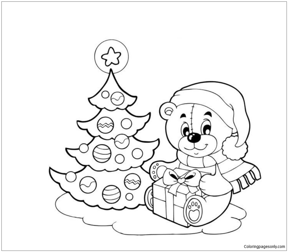 Tree And Doll Christmas Coloring Page - Free Coloring Pages ...