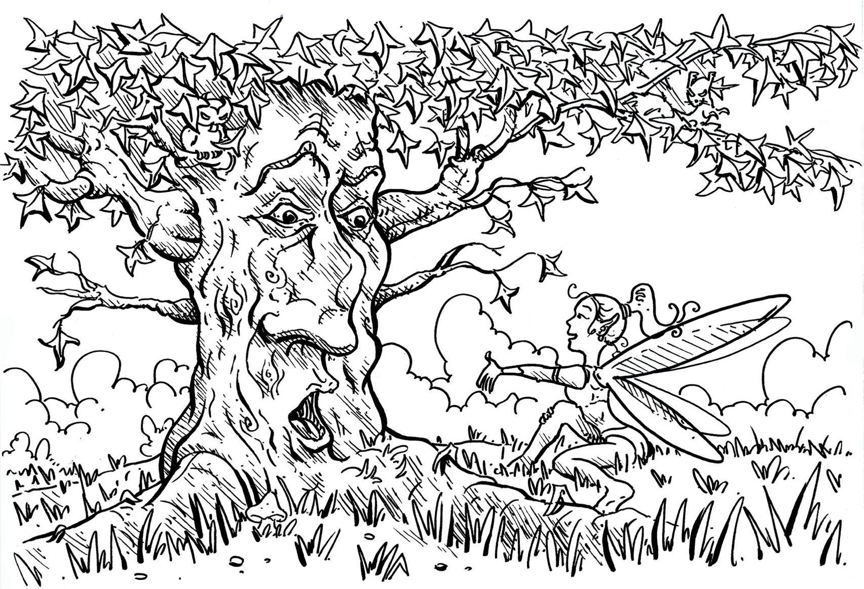 Tree and Fairy Coloring Page