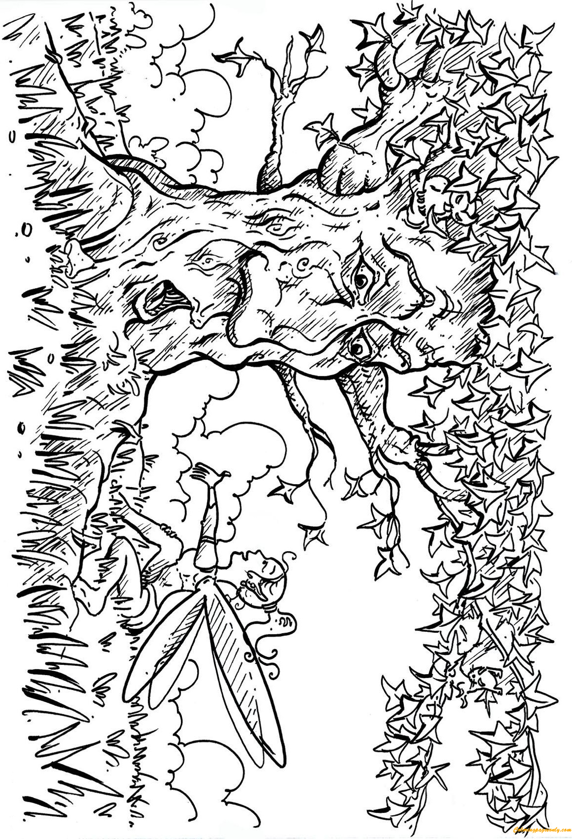 Tree and Fairy Coloring Page Free Coloring Pages Online