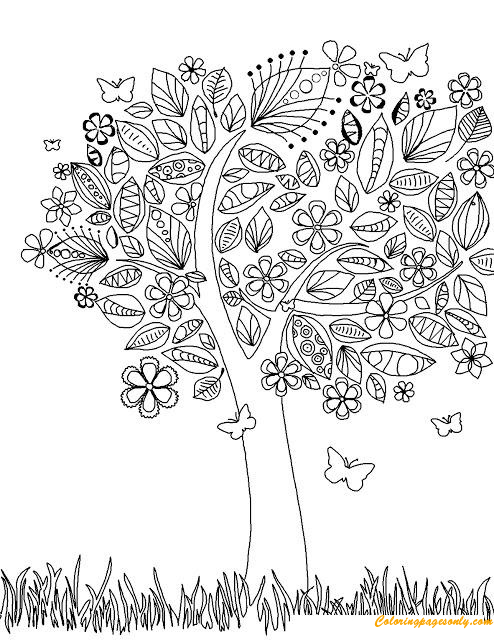Coloring Page With Flowers And Leaves Stock Vector - Illustration ... | 640x494
