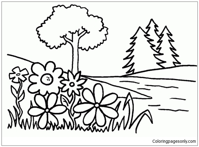 Trees And Flowers Coloring Page Free Coloring Pages Online