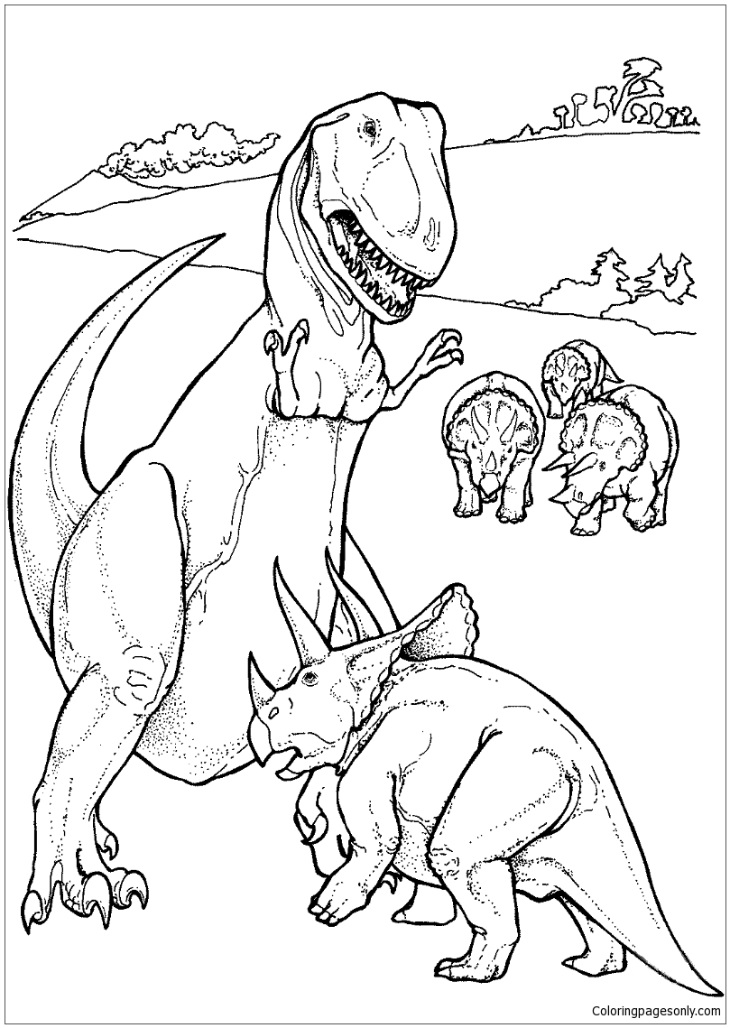 Triceratops And Tyrannosaurus Coloring Page