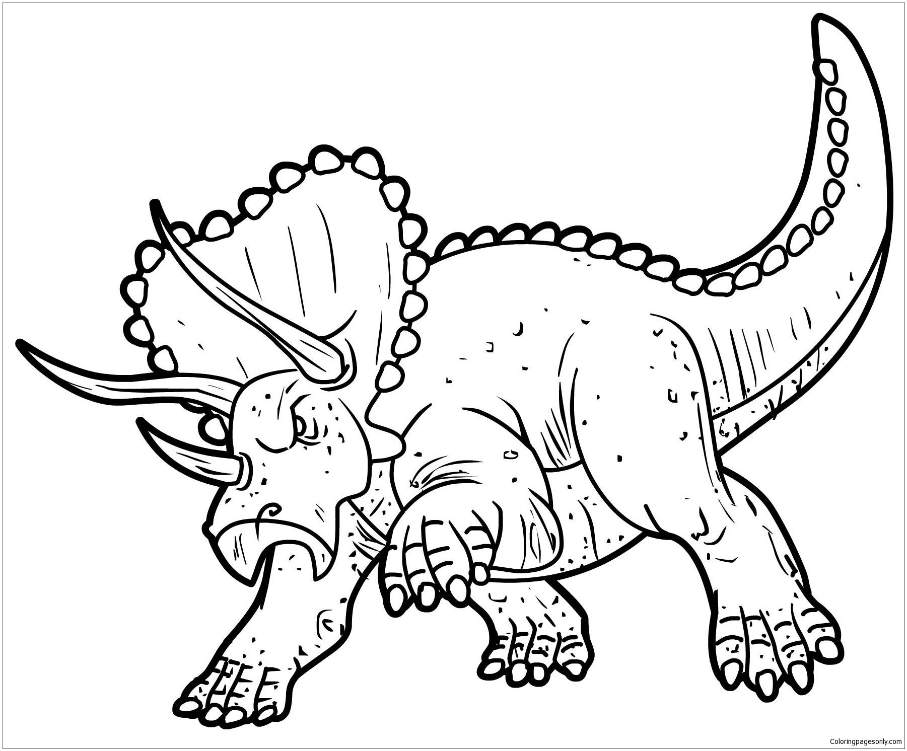 Triceratops Dinosaur 1 Coloring Page
