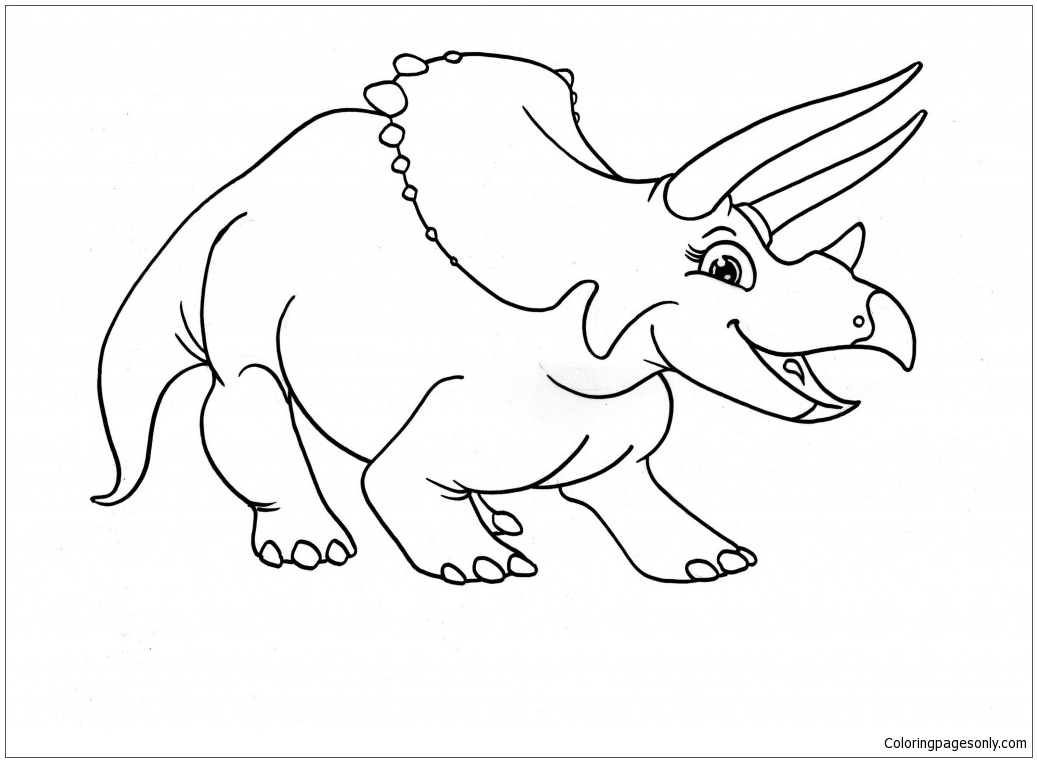 Triceratops Dinosaur 3 Coloring Page
