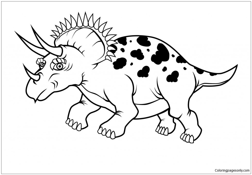 Triceratops Dinosaur 4 Coloring Page