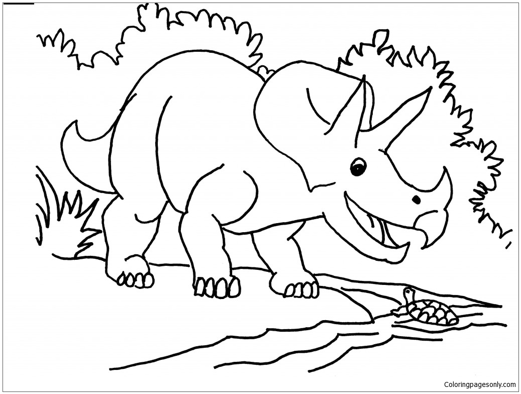 Triceratops Talk With Turtle Next To The River Coloring Page