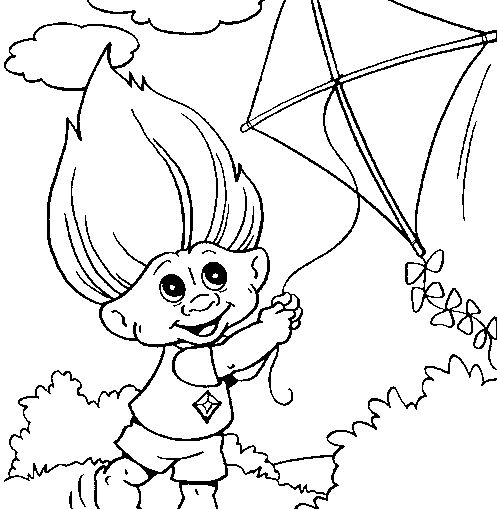 Troll Playing Kite Coloring Page