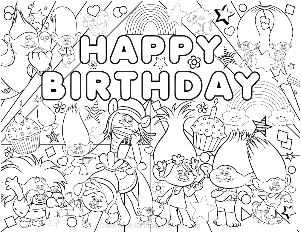 Trolls Happy Birthday Coloring Page