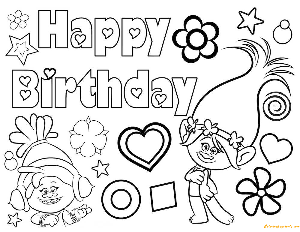 Trolls Party Coloring Page Free Coloring Pages Online