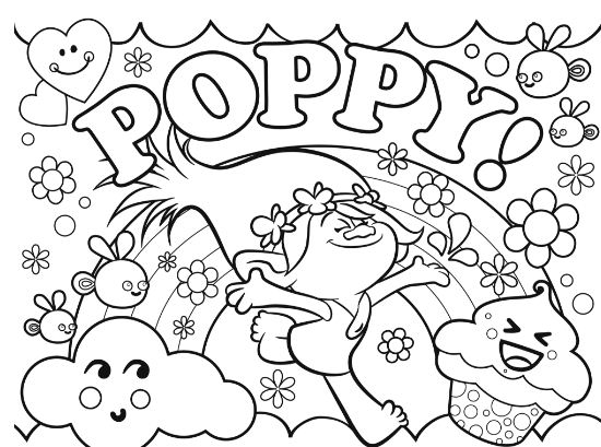 Trolls Poppy Coloring Page