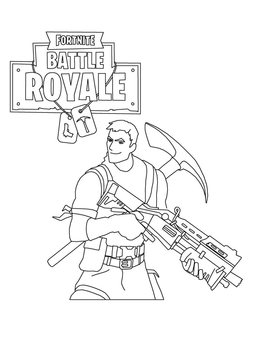 Trooper brings a pickaxe and a Tactical Shotgun Coloring Page