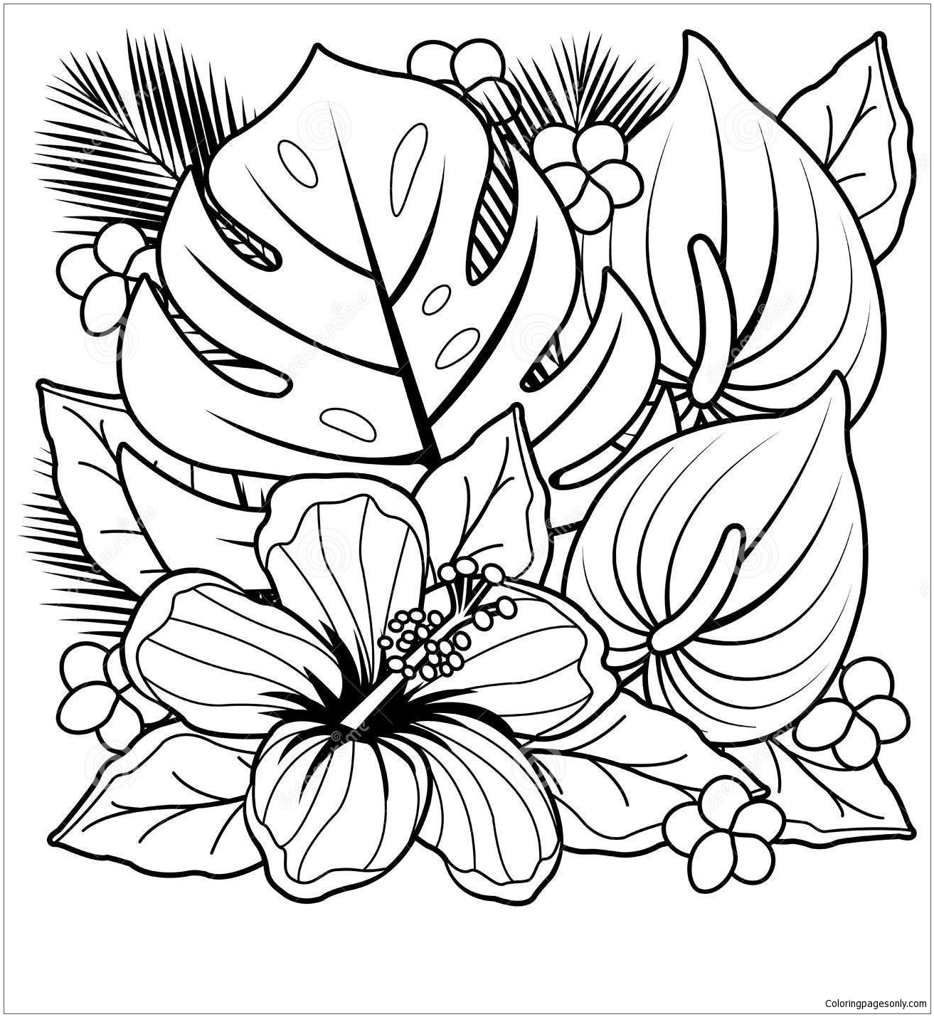- Tropical Plants And Hibiscus Flowers Coloring Page - Free Coloring