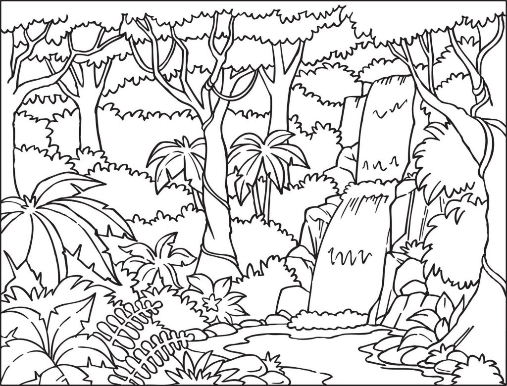 Tropical Waterfall Coloring Page