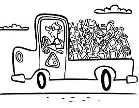 Truck Of Recycling Waste Coloring Page