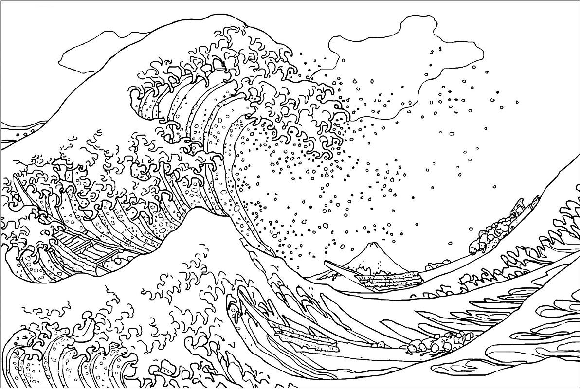 Tsunami Kangawa Coloring Page