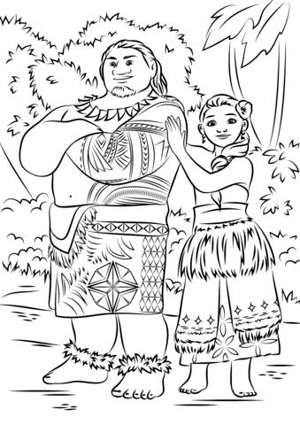Tui and Sina from Moana from Moana Coloring Page