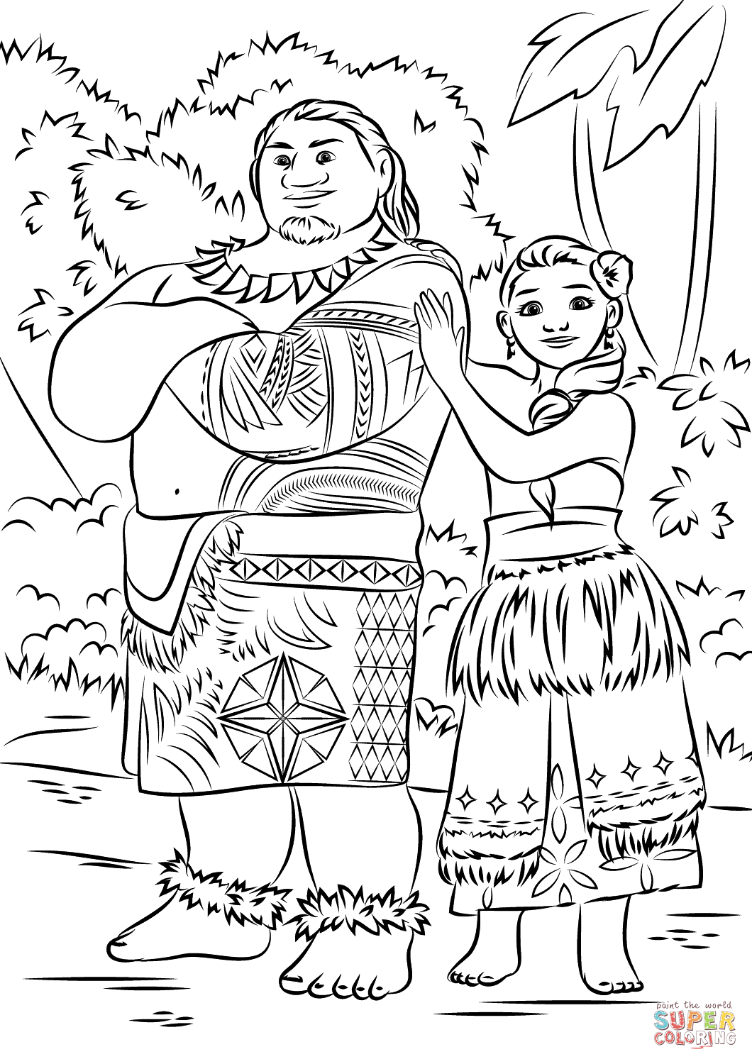 Tui And Sina From Moana From Moana Coloring Page Free