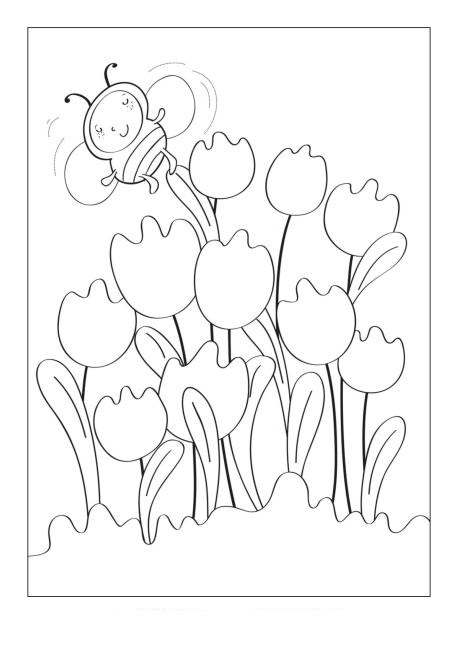 Tulips And Bumble Bee Coloring Page