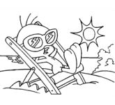 Tweety On The Beach Coloring Page