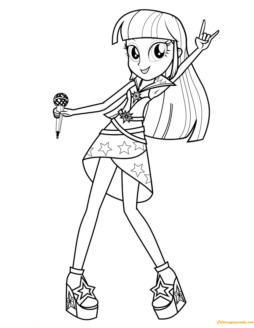 Twilight Sparkle Sings Coloring Page Free Coloring Pages