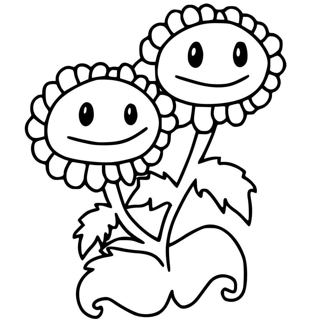 Twins Sunflowers Coloring Page