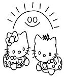 Two Hello Kitty Mermaid Coloring Page