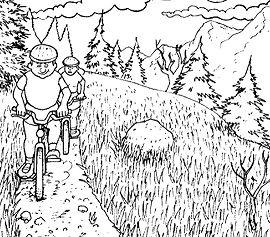 Two Boys Do Mountain Biking Coloring Page