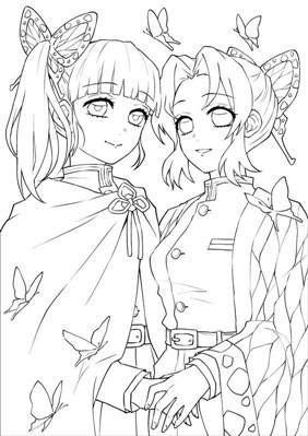 Two Demon Slayer Character Coloring Page
