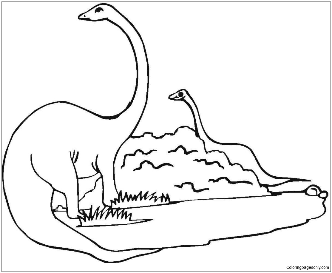 styracosaurus coloring page - two diplodocus dinosaur coloring page free coloring