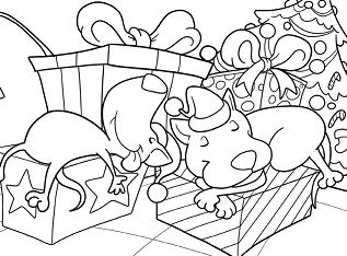 Two Dogs Sleeps On Christmas Morning Coloring Page