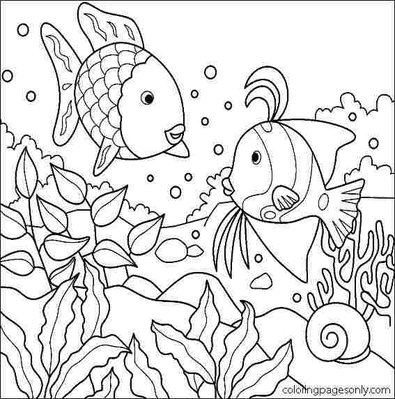 Two fish eat seaweed under the water Coloring Page