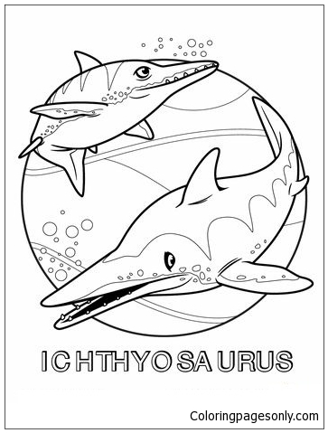 Two Ichthyosaurus Coloring Page