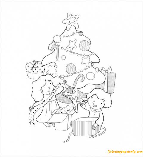 two kids opening christmas presents coloring page - Christmas Presents Coloring Pages