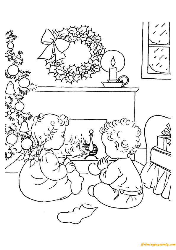 Two Kids Waiting Christmas Eve Coloring Page