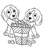 Two Little Dog Eating Popcorn Coloring Page
