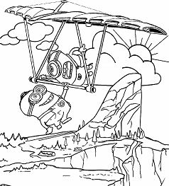 Two Minion Crazy Pilots Coloring Page