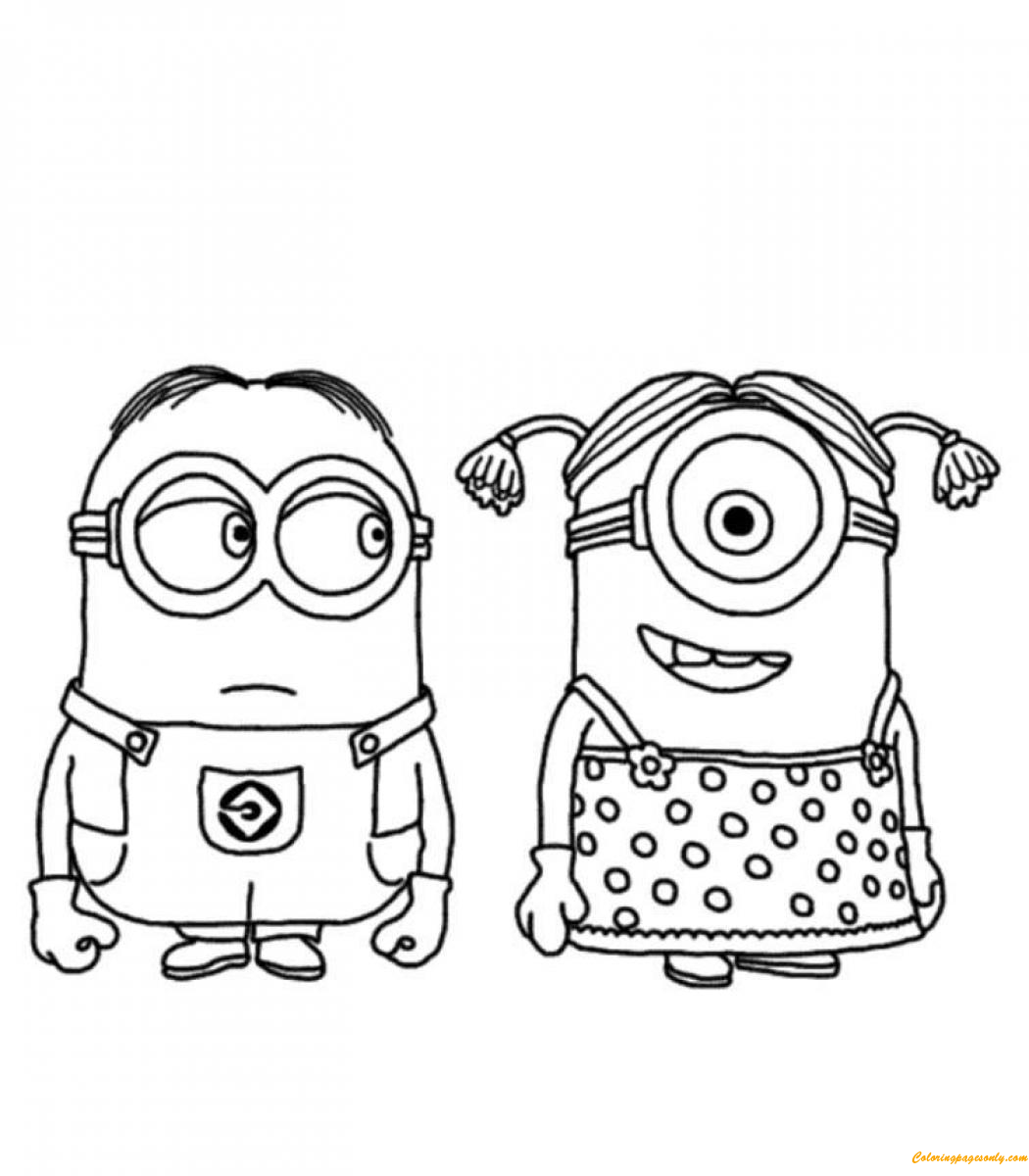 Two Minion In Despicable Me Coloring Page - Free Coloring ...